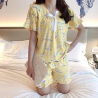 Hotpant Baju Tidur Sabri motif daun putih bahan spandek GoodQuality