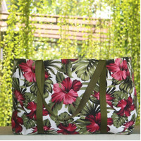 Tas Belanja Kanvas Besar / Tote Bag Kanvas Motif Bunga Sepatu Fanta