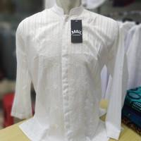 Baju Koko Semi Sutra Putih Polos