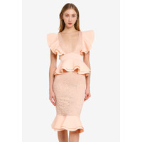 Dress Import Merk Inggris Missguided Lace Ruffle UK Size 14(M)