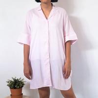 Syaline Hijab - NALA SLEEP DRESS - STRIPE BABYPINK