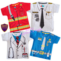 Kaos Anak Laki-Laki Profesi Dokter Pemadam Pilot Poiisi Baju Tshirt
