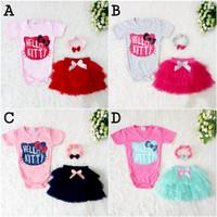 Baju Bayi Perempuan Setelan Jumper Hello Kitty Rok Tutu Bandana Murah