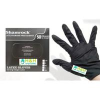 Sarung Tangan Hitam Latex no Powder / Sarung Tangan Shamrock
