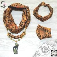 Kalung Batik Wanita Syal, Bandana & Masker - Coklat 2