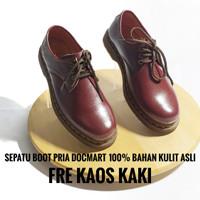 Sepatu Boots Pria Docmart Low Boot 3 Hole Kulit Asli 1060 marun