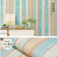 wallpaper stiker dinding motif papan kayu 3 warna biru MIX gold