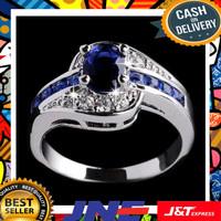 Cincin Batu Safir Biru Hiasan Kristal Emas Putih Sale