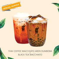 [SPECIAL] THAI COFFEE MACCHIATTO DUMBOBA + BLACK TEA MACCHIATTO