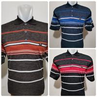 Wangki Salur Pria Size L/XL/XXL| Kaos Polo Size Dewasa Motif Salur - Biru, L