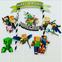 Minecraft Ribbon Hijau Topper Cake Birthday / Hiasan Kue Ulang Tahun