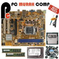 Paket lengkap Mainboard Mobo Motherboard LGA 1155 H61 PROCESSOR G2020
