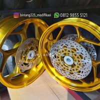 Velg Axio R15 V3 Vixion R MT15 double disk depan tapak lebar Gold