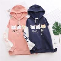 sweater cat kucing hoodie baju atasan outer luaran wanita anak remaja