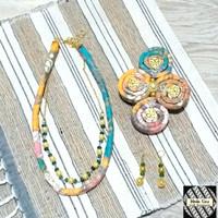 Kalung Batik Wanita Ukel & Anting - Kuning
