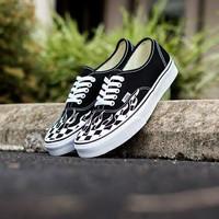 Sepatu Sneaker VANS AUTHENTIC CHECKER BLACK FLAME Black White Original