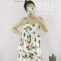 baju tidur wanita setelan lengan buntung motif cherry kaos import