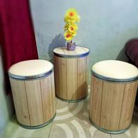 Paket 1 Set Kursi Teras Stool Tong kursi Cafe bangku unik
