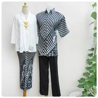 Baju Batik Sarimbit Couple Semi Sutra Merak Putih Tanpa Brukat Murah