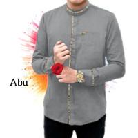 Kemeja Koko Pria Lengan Panjang List - Abu-abu, XL