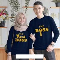 Kaos couple the real boss lengan panjang - baju pasangan