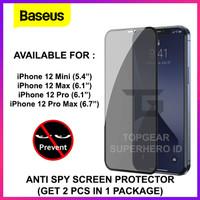 BASEUS TEMPERED GLASS ANTI SPY IPHONE 12 MINI PRO MAX SCREEN PROTECTOR