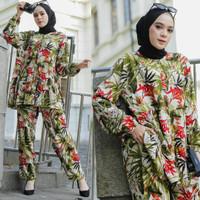 Piyama Pajamas Rayon Setelan Baju Daily One Set Wanita Muslimah
