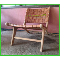 Kursi Santai Vintage Jati - Amerika Leather Chair Teak Wood