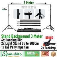 Stand Background Foto Tinggi 3 Meter / Tiang Background Bonus Backdrop