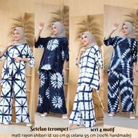 Setelan Blus Terompet Shibori Set Baju Celana Batik Handmade Cantik