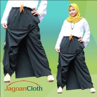 Rok Celana Panjang Muslimah Rocela Asli Bahan Wolfis Wool Peach Hitam