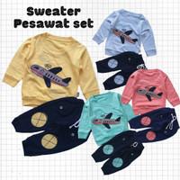 Baju Setelan Anak Bayi Laki Sweater Panjang Bordir Pesawat Celana Navy