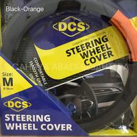 Sarung Setir stir Mobil Universal DCS Hitam - Setengah Orange