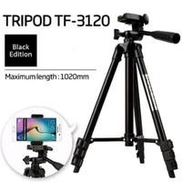 TF-3120 TRIPOD HANDPHONE KAMERA GO PRO 1 METER FREE HOLDER U BLACK