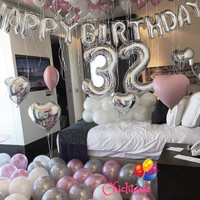 Paket balon set happy birthday silver pink romantis simpel