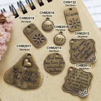 Charm Tag Tulisan Love Friends Forever Bandul Kalung Gelang Liontin