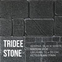 Wallpaper Foam 3D Motif Batu Hitam Putih 7MM|TRIDEE STONE BLACK WHITE - Hitam