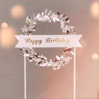 hiasan kue ulang tahun cake topper happy birthday daun elegan - Putih