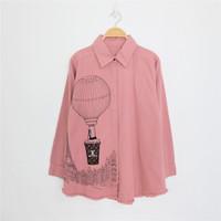 [REAL PIC] Atasan LD 106cm Kemeja Denim 'Balon LV' - Merah Muda