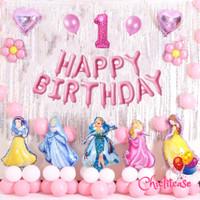 Set paket balon princess premium dekorasi happy birthday ulang tahun