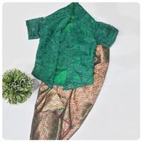 Baju Setelan Batik Kebaya Brukat Anak Perempuan Hijau Murah