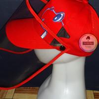 Topi Face Shield Anak Dino Korea Merah