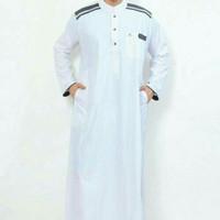 jubah nabawi putih / koko dewasa / gamis koko / baju koko jubah laki
