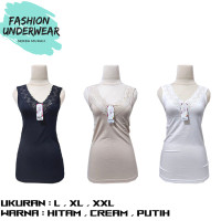 Pakaian Wanita / Atasan / Tanktop Renda V- Neck MIRANDA | HITAM , PUTI