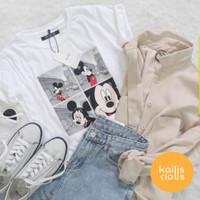 Tumblr Tee Mickey Mouse Short/Long Sleeve   Kaos Wanita - Hitam, allsize