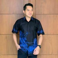 baju batik kemeja batik pria S.M.L.XL.XXL JUMBO wayang biru hitam