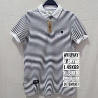 baju kaos kerah polo shirt pria salur hitam putih original