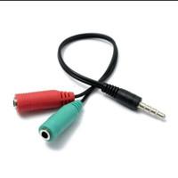 SPLITTER AUDIO MICROPHONE SMULE AUX SPLITER 2 MIC HP PC EARPHONE KABEL
