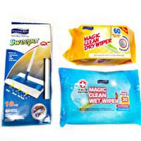 Sweeper Stick Mop Magic Clean, free 1 pack refill dry wiper 45's