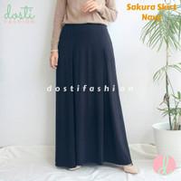 Rok Skirt Panjang Wanita Muslimah Trendy Polos Premium Fit to XL - Navy